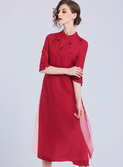 Red Elegant Embroidered Chinese Dress