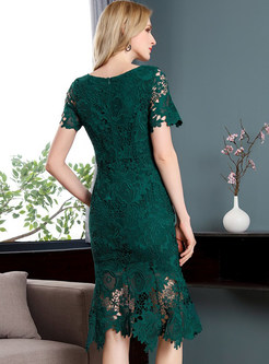 Green Lace Hollow Out Mermaid Dress