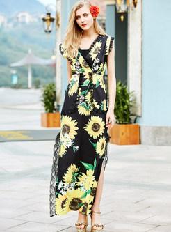 6974212adf68 Floral Print V-neck Sleeveless Maxi Dress ...