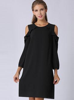 Black Off Shoulder O-neck Shift Dress