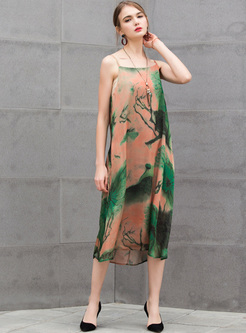 Vintage Print Loose Split Dress