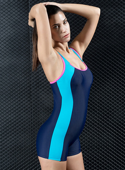 Hit Color Splicing One Piece Swimwear