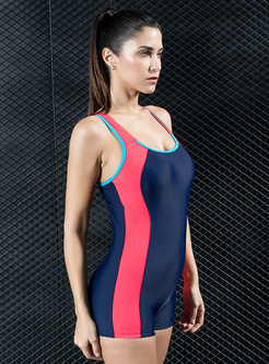 Brief Contrast Color Backless Swimwear