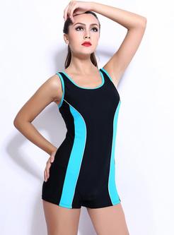 Brief Striped Scoop Neckline Swimwear