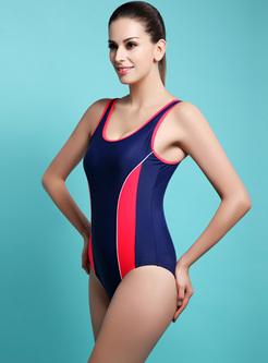 Sexy Striped Splicing Scoop Neckline Swimwear