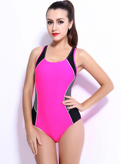 Brief Color-blocked Slim One Piece Swimwear