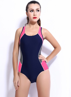 Hit Color Backless Splicing Swimwear
