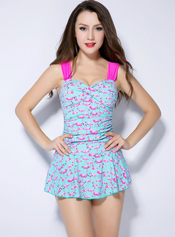 Chic Swan Print One Piece Swimwear