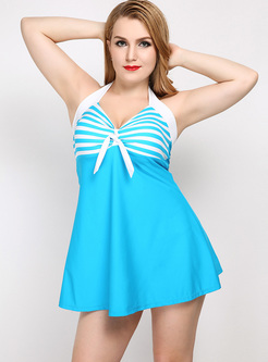 Striped Halter Neck Swimwear