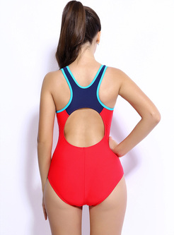 Stylish Splicing Scoop Neckline Swimwear