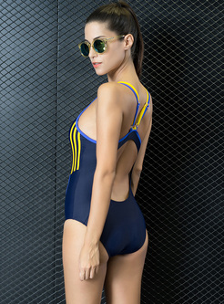 Striped Backless Scoop Neck Swimwear
