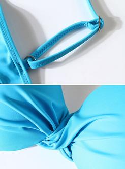 Sexy V-neck Pure Color Bikini