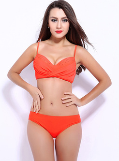 Pure Color V-neck Wrinkle Bikini