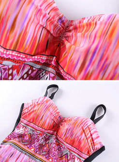 Ethnic Print Splicing One Piece Swimwear