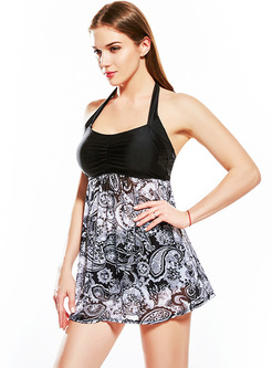 Stylish Print Splicing Halter Neck Swimwear