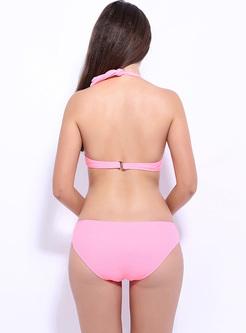 Sexy Pure Color Halter Neck Bikini