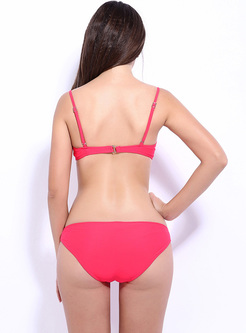 Sexy Sequins Pure Color Bandeau Bikini