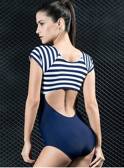 Striped Splicing Bowknot Short Sleeve Swimwear