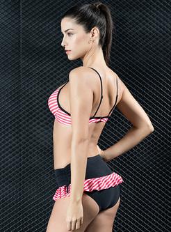 Striped Splicing Lacing V-neck Bikini