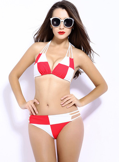Stylish Straped Color-blocked Bikini
