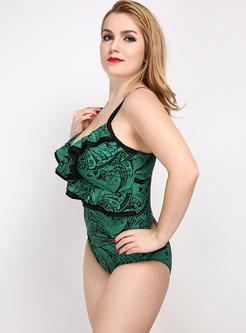 Stringy Selvedge Print V-neck Swimwear