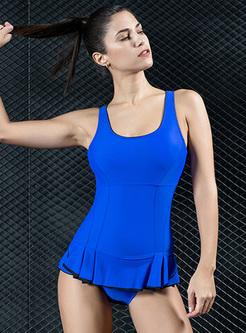 Falbala Splicing Scoop Neckline Swimwear