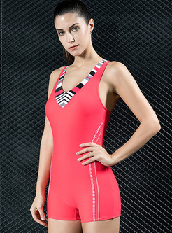 Contrast Color Scoop Neckline Swimwear