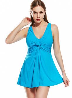 Brief Pure Color V-neck Swimwear
