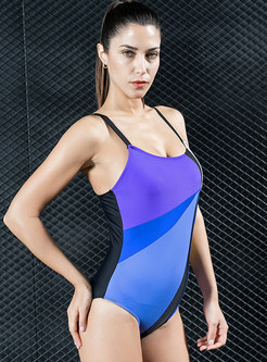 Hit Color Stitching One Piece Swimwear