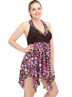 Floral Print Halter Neck Backless Swimwear