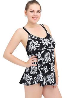 Floral Print Scoop Neckline Swimwear