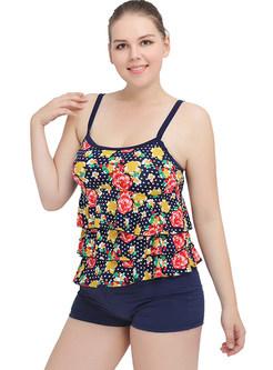Oversized Flower Print Splicing Swimwear