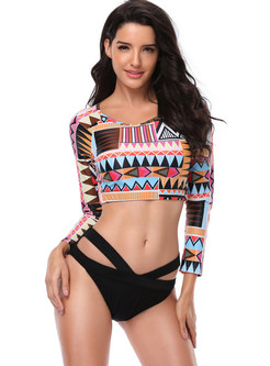 Geometry Pattern Print Long Sleeve Bikini