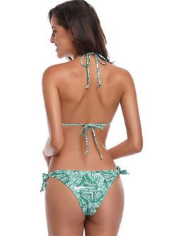 Sexy Lacing Knitted Print Bikini