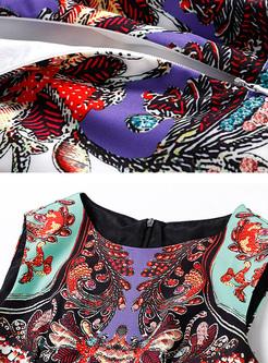 Street Floral Print Sleeveless A-line Dress