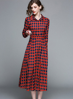 Lapel Color-blocked High Waist Shirt Dress