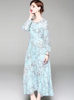 Blue Lantern Sleeve Chiffon Maxi Dress