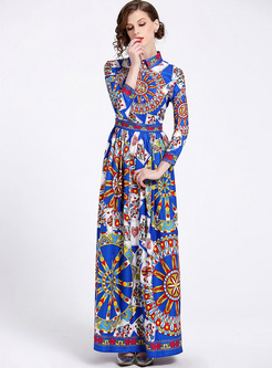 Vintage Print Lapel Maxi Dress
