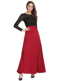 Stylish High Waist Long Skirt