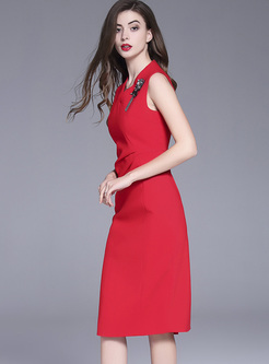 Red V-neck Nail Bead Bodycon Dress