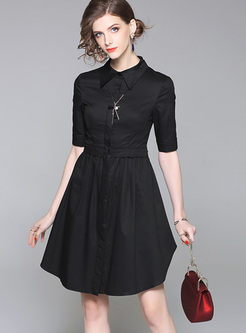 424646964e67 Black Stand Collar Slit Skater Dress ...