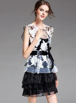 Casual Organza Splicing Layered Falbala Dress