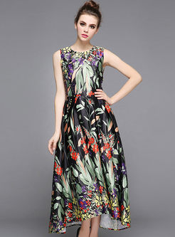 Floral Print Waist Big Hem Sleeveless Dress