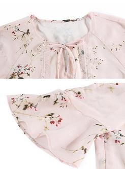 Sweet Floral Print Lotus Leaf Skater Dress