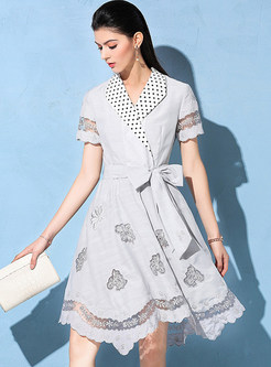 White Lapel Belted Embroidered Skater Dress