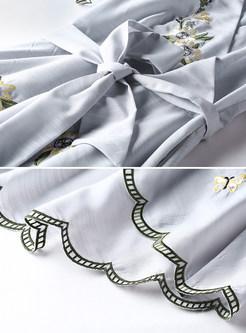 White Embroidered V-neck Belted Skater Dress