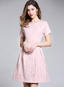 Pink Embroidered Big Hem Skater Dress