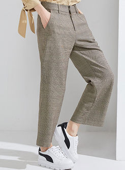 Khaki Casual Plaid Straight Wide Leg Pants