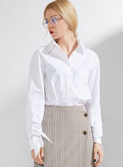 White Solid Color Brief Blouse
