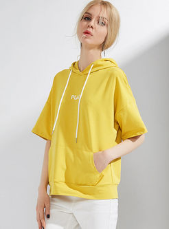 Yellow Letter Print Casual Hoodies